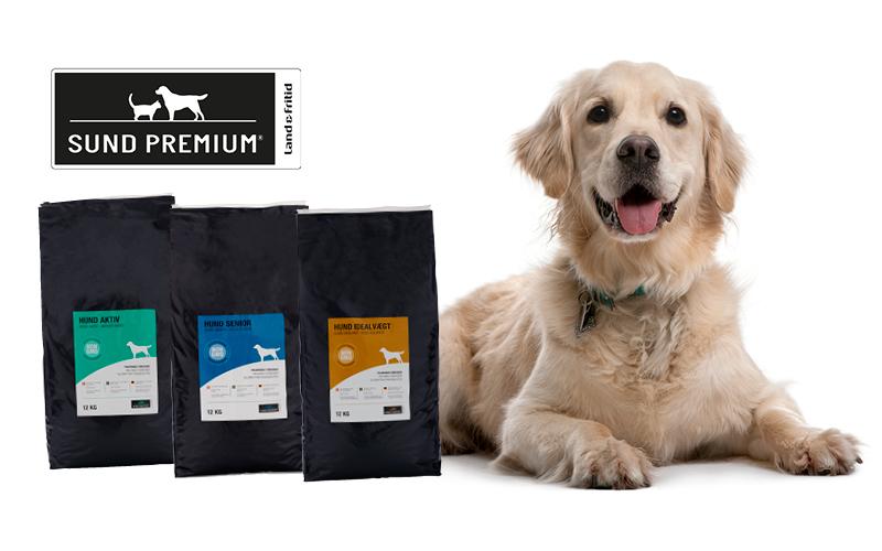 Hundfodersäckar Sund Premium och en golden retriever