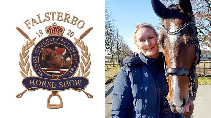 Falsterbo logotyp och kvinna med häst