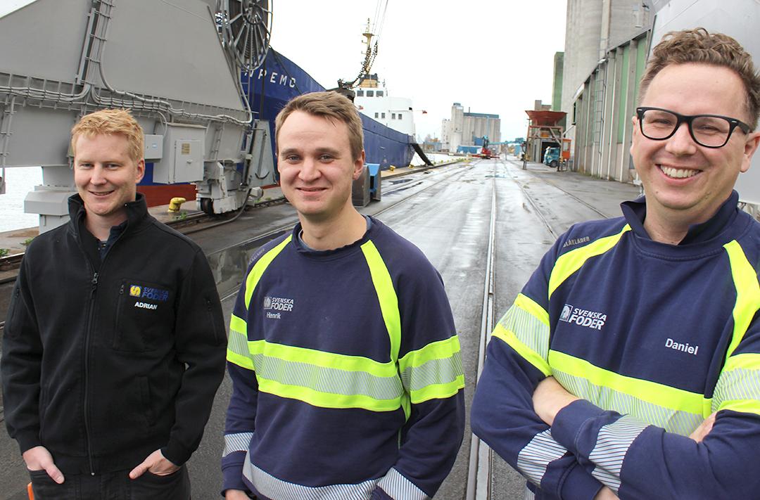 Adrian Cederholm samordnare Åhusfabriken, Henrik Torevik fabrikschef Åhusfabriken och Daniel Brun fabrikschef Tågarp.